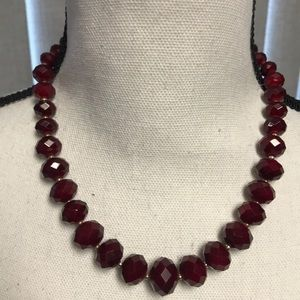 WHBM Dark Red Bead Necklace